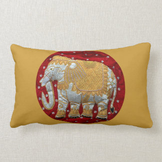 Embellished Indian Elephant Red and Gold Lumbar Pillow