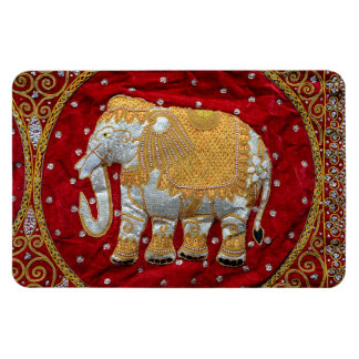 Embellished Indian Elephant Red and Gold Magnet