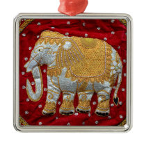 Embellished Indian Elephant Red and Gold Metal Ornament