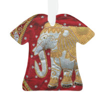 Embellished Indian Elephant Red and Gold Ornament