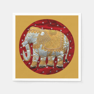 Embellished Indian Elephant Red and Gold Paper Napkin