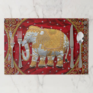Embellished Indian Elephant Red and Gold Paper Placemat