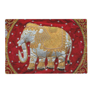 Embellished Indian Elephant Red and Gold Placemat