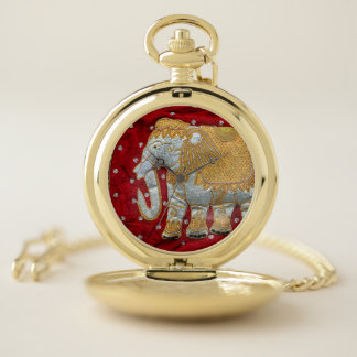 Embellished Indian Elephant Red and Gold Pocket Watch