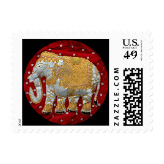 Embellished Indian Elephant Red and Gold Postage