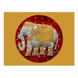 Embellished Indian Elephant Red and Gold Postcard