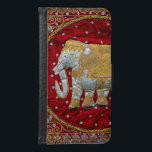 "Embellished Indian Elephant Red and Gold Samsung Galaxy S6 Wallet Case<br><div class=""desc"">Image of an Indian Elephant decorated with sequins and beads in white,  silver,  and gold against maroon red velvet.</div>"