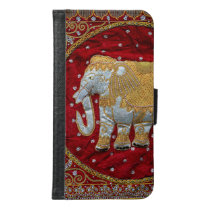 Embellished Indian Elephant Red and Gold Samsung Galaxy S6 Wallet Case
