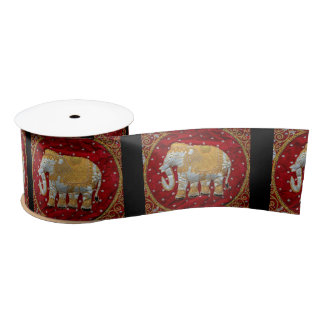 Embellished Indian Elephant Red and Gold Satin Ribbon