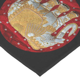 Embellished Indian Elephant Red and Gold Short Table Runner