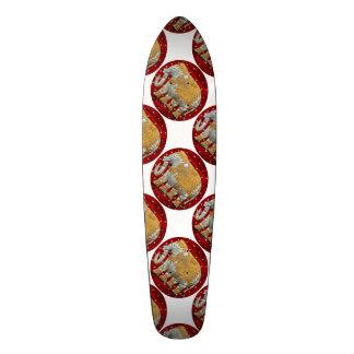 Embellished Indian Elephant Red and Gold Skateboard Deck
