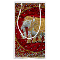 Embellished Indian Elephant Red and Gold Small Gift Bag