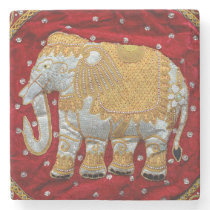 Embellished Indian Elephant Red and Gold Stone Coaster