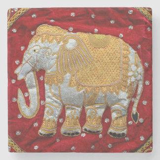 Embellished Indian Elephant Red and Gold Stone Coaster