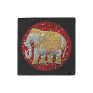 Embellished Indian Elephant Red and Gold Stone Magnet
