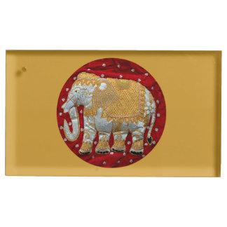 Embellished Indian Elephant Red And Gold Table Number Holder