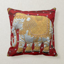 Embellished Indian Elephant Red and Gold Throw Pillow