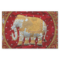 Embellished Indian Elephant Red and Gold Tissue Paper