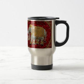 Embellished Indian Elephant Red and Gold Travel Mug