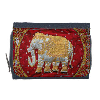 Embellished Indian Elephant Red and Gold Wallets