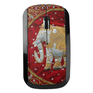 Embellished Indian Elephant Red and Gold Wireless Mouse