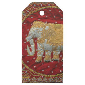 Embellished Indian Elephant Red and Gold Wooden Gift Tags