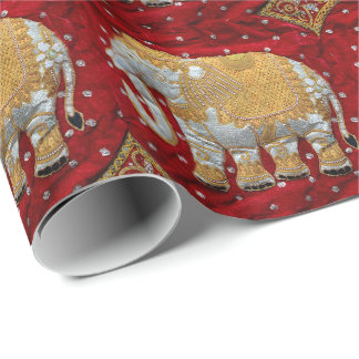 Embellished Indian Elephant Red and Gold Wrapping Paper
