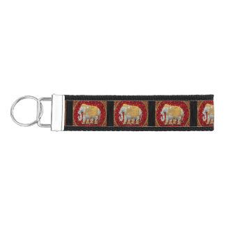 Embellished Indian Elephant Red and Gold Wrist Keychain
