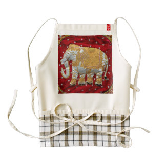 Embellished Indian Elephant Red and Gold Zazzle HEART Apron
