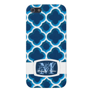 Embellished Moroccan Trellis (Dark Blue) Case For iPhone SE/5/5s