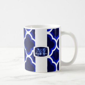 Embellished Moroccan Trellis(Dark Blue) (Monogram) Coffee Mug