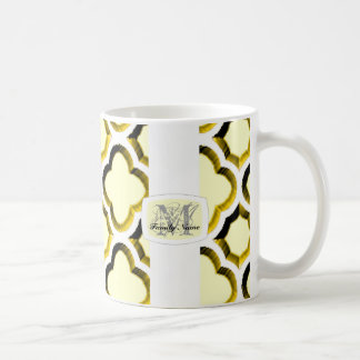 Embellished Moroccan Trellis (Gold) (Monogram) Coffee Mug