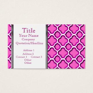Embellished Moroccan Trellis (Pink) (Monogram) Business Card