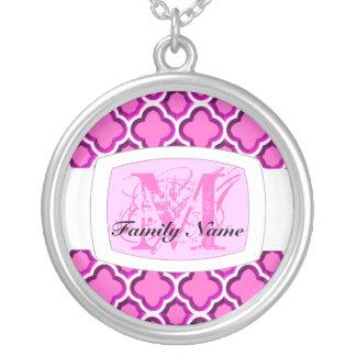 Embellished Moroccan Trellis (Pink) (Monogram) Custom Necklace