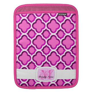 Embellished Moroccan Trellis (Pink) (Monogram) Sleeves For iPads