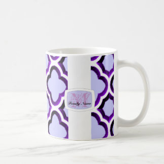 Embellished Moroccan Trellis (Purple) (Monogram) Coffee Mug