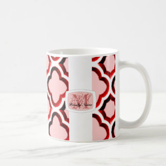 Embellished Moroccan Trellis (Red) (Monogram) Coffee Mug