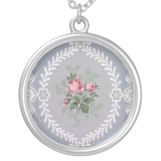 Embellished rose wallpaper, 1940-1950 round pendant necklace