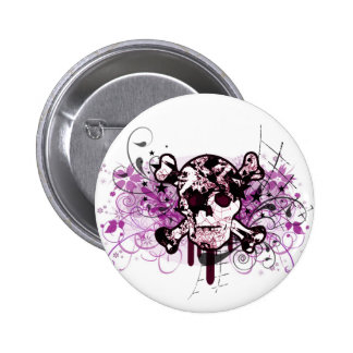 EMBELLISHED SKULL 2 INCH ROUND BUTTON