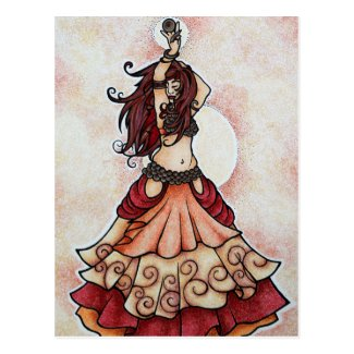 Ember belly dance art postcard