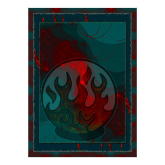 Embers Mixed Media Abstract Poster