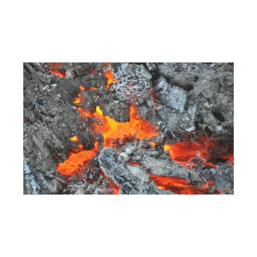 Embers of a fire on canvas stretched canvas print