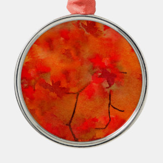 Embers of Autumn Round Metal Christmas Ornament