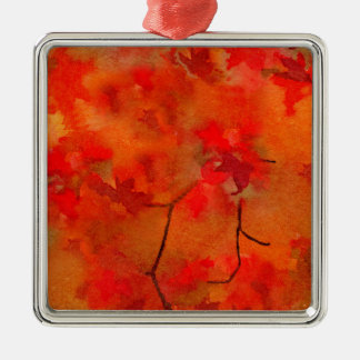 Embers of Autumn Square Metal Christmas Ornament