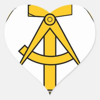 Emblem der DDR - National Emblem of the GDR Heart Sticker