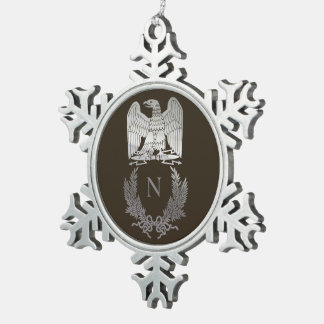 Emblem of Napoleon Bonaparte Snowflake Pewter Christmas Ornament
