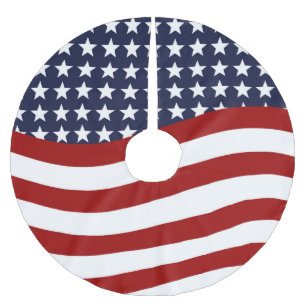 patriotic flag design brushed polyester tree skirt