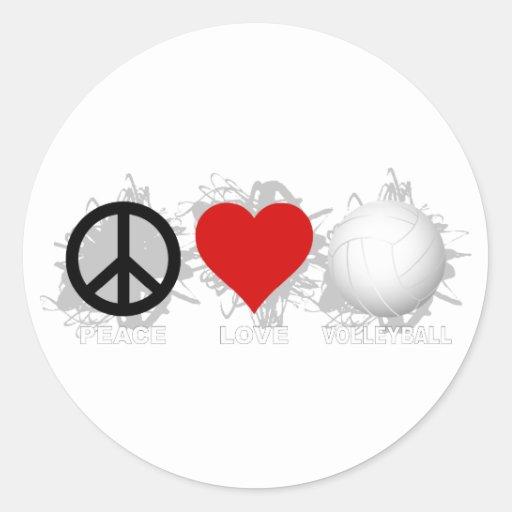 Emblema 1 del voleibol del amor de la paz etiqueta redonda