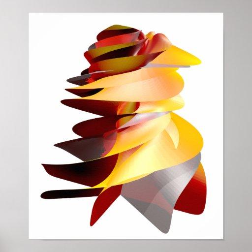 Emblema abstracto del fuego póster