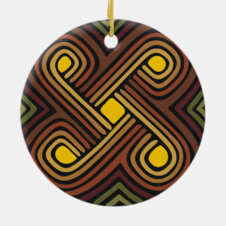 Emblema africano adorno navideño redondo de cerámica